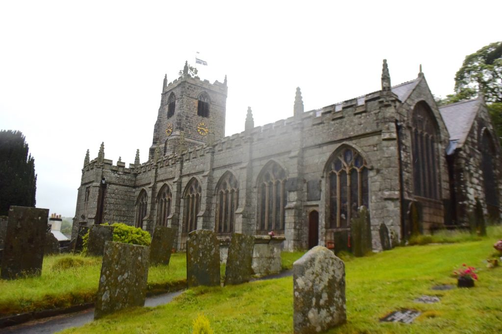 The church of St Neot, at the village of St Neot, Cornwall, on a very rainy day!