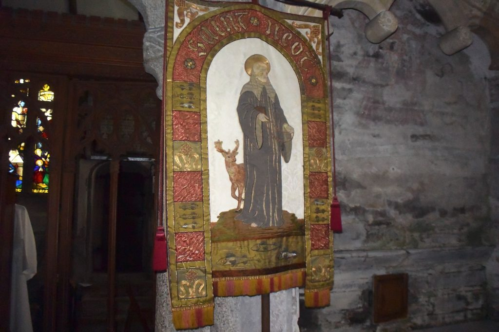 Remembering St Neot inside the church of St Neot in the village of the same name in Cornwall.