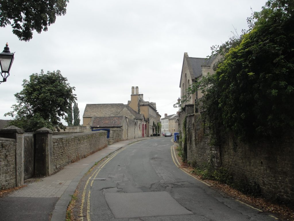 Chippenham, Wiltshire. Looking south down St Mary's Street, with the possibility of the former location of the royal site at the time of King Alfred the Great being to the right.