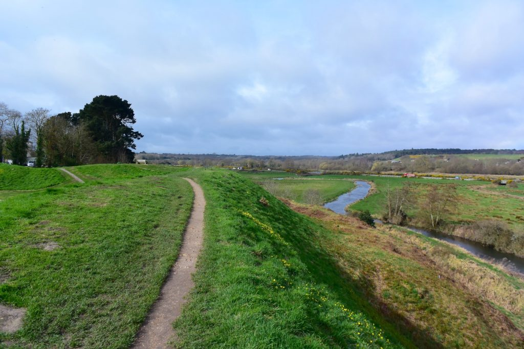 Wareham, the Purbecks, Dorset. The north stretch of the Saxon wall, with the River Piddle disappearing off to the west.