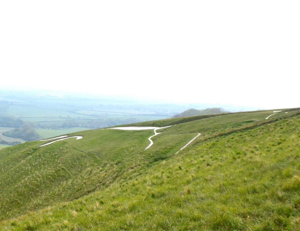 The best view of the Uffington White Horse, Oxfordshire, that I could obtain from ground level