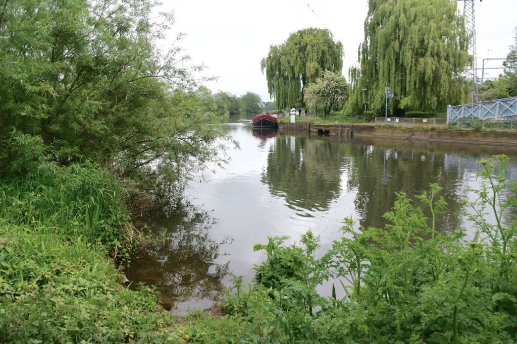 Reading, Berkshire. Standing right at the confluence of the Thames and the River Kennet (looking west up the Thames)