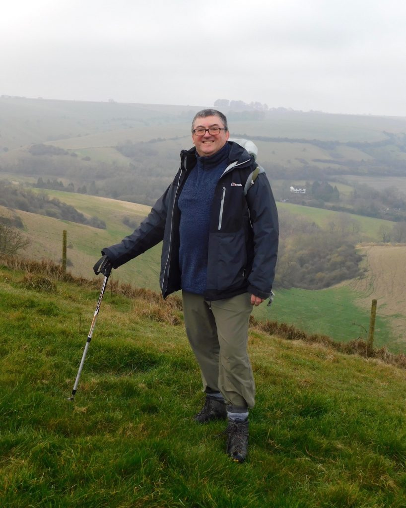 Paul Kelly, the author of King Alfred: A Man on the Move - climbing Picquet Hill, just south of Edington, Wiltshire