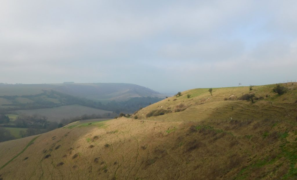 Looking north to Picquet Hill (on the right), Wiltshire. Edington is down over the other side.
