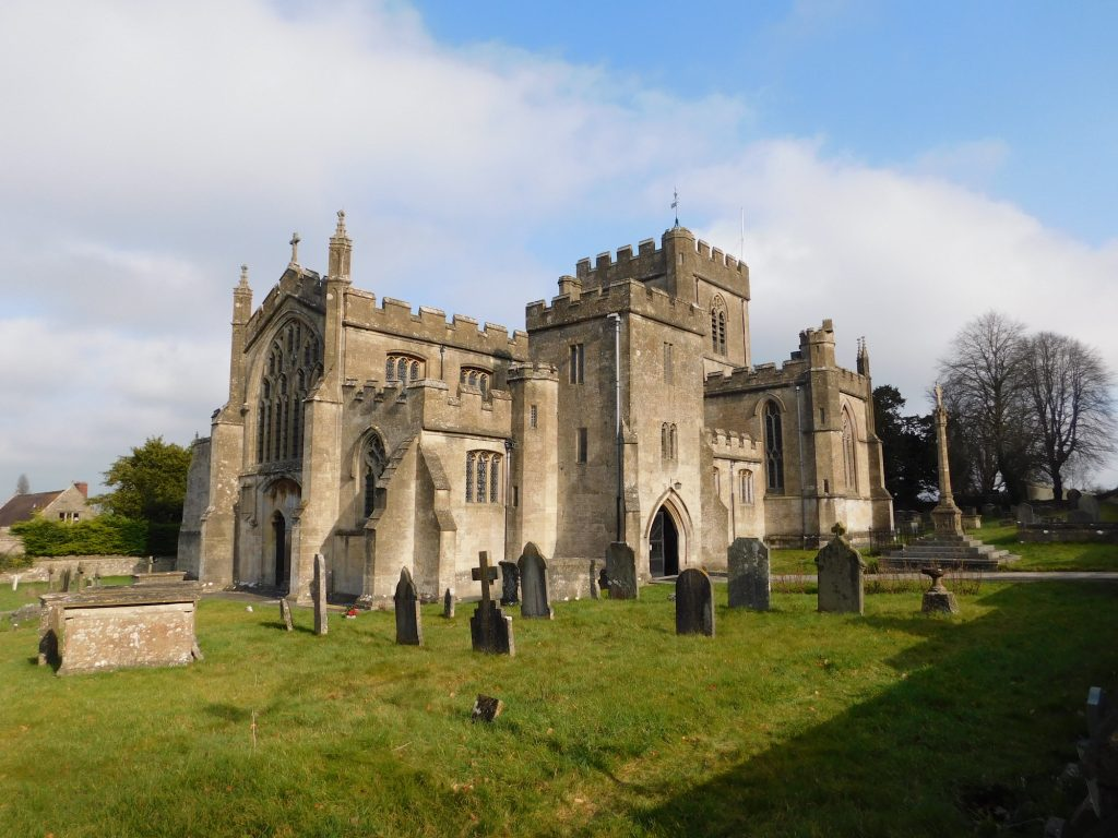 Edington Priory church, Wiltshire. It is plausible that the Battle of Ethandun was fought in the vicinity. King Alfred the Great defeated Guthrum and the Vikings in this battle.