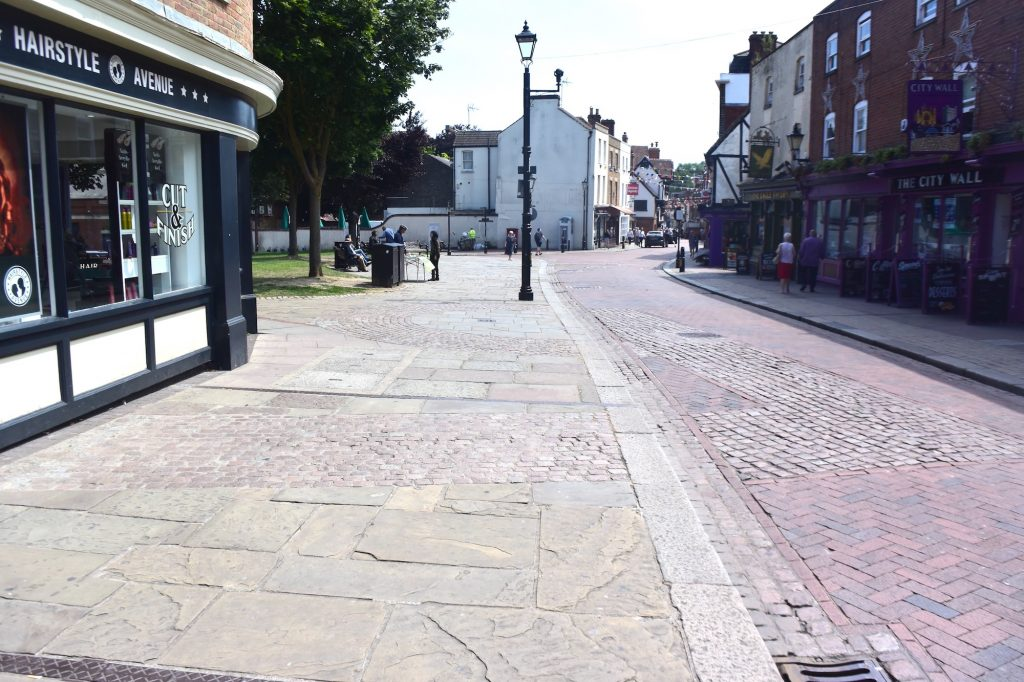 The outline on the ground of the East Gate in the walls of Rochester, Kent. Easily missed. Had there been a Viking fortification just past the lamp post?