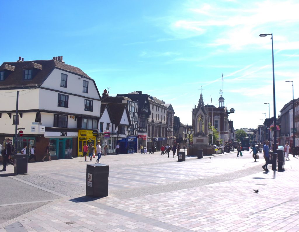 Looking west down the High Street from the probable site of the origin of Maidstone (at the ancient crossing) in Kent