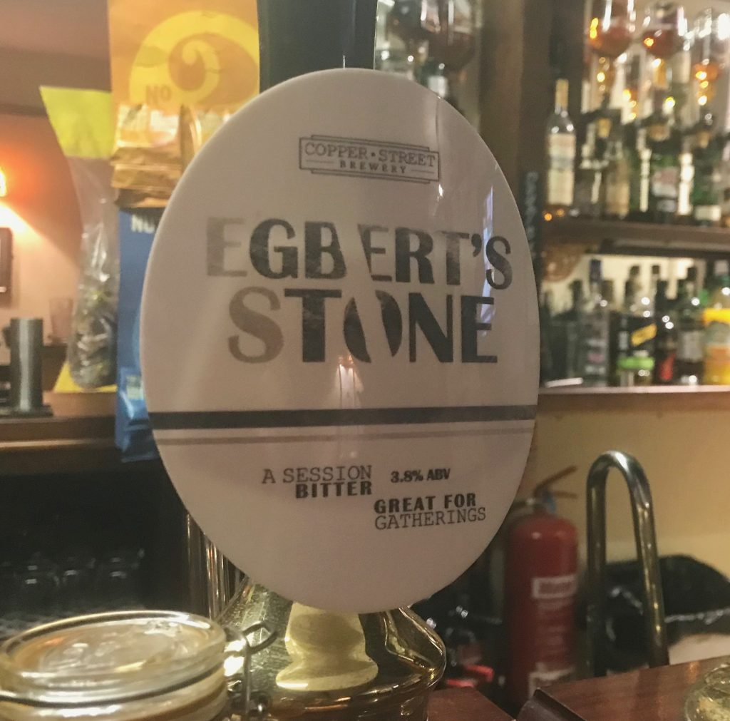 Superb Egbert's Stone Ale, made by the Copper Street Brewery in Dorchester, Dorset, on the pump in the lovely Royal Standard pub, Upwey, Weymouth.