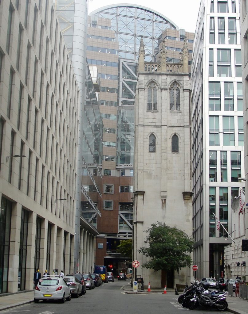 St Alban's bell tower, Wood Street, London. Inside the outline of the Roman fort. Was there a Saxon royal residence here?