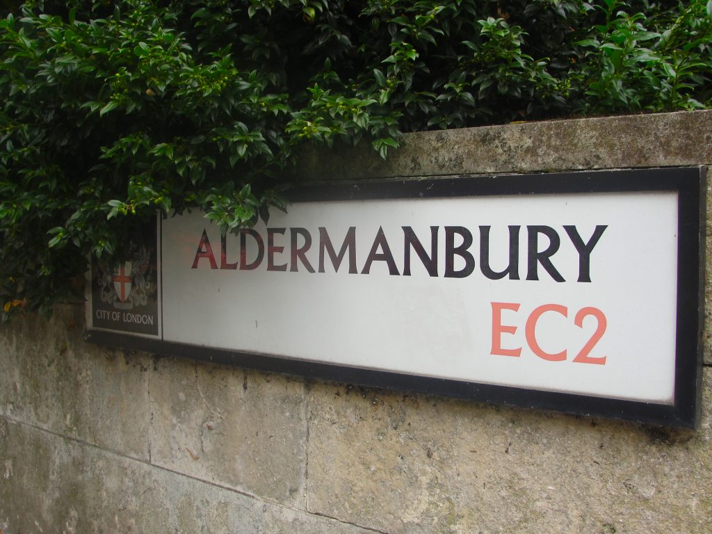 Road sign. Aldermanbury, London.