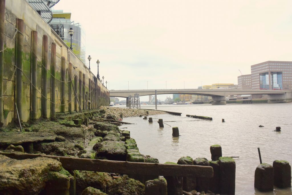 North bank. River Thames. View east towards London Bridge