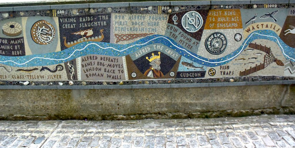 The Queenhithe mosaic on the north bank of the River Thames, London. There would have been a dock here in King Alfred the Great's time.