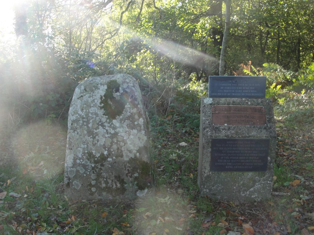 The monument in the countryside near Pewsey, Wiltshire, commemorating the meeting between King Alfred the Great (not yet king) and his brother at Swanborough Tump (Swinbeorg)
