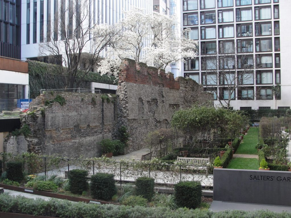 The Roman wall of London at Salter's Garden. The other side of this wall is St Alphage's Garden. This is to the north of the road called London Wall. It is a fairly short walk from the Museum of London.