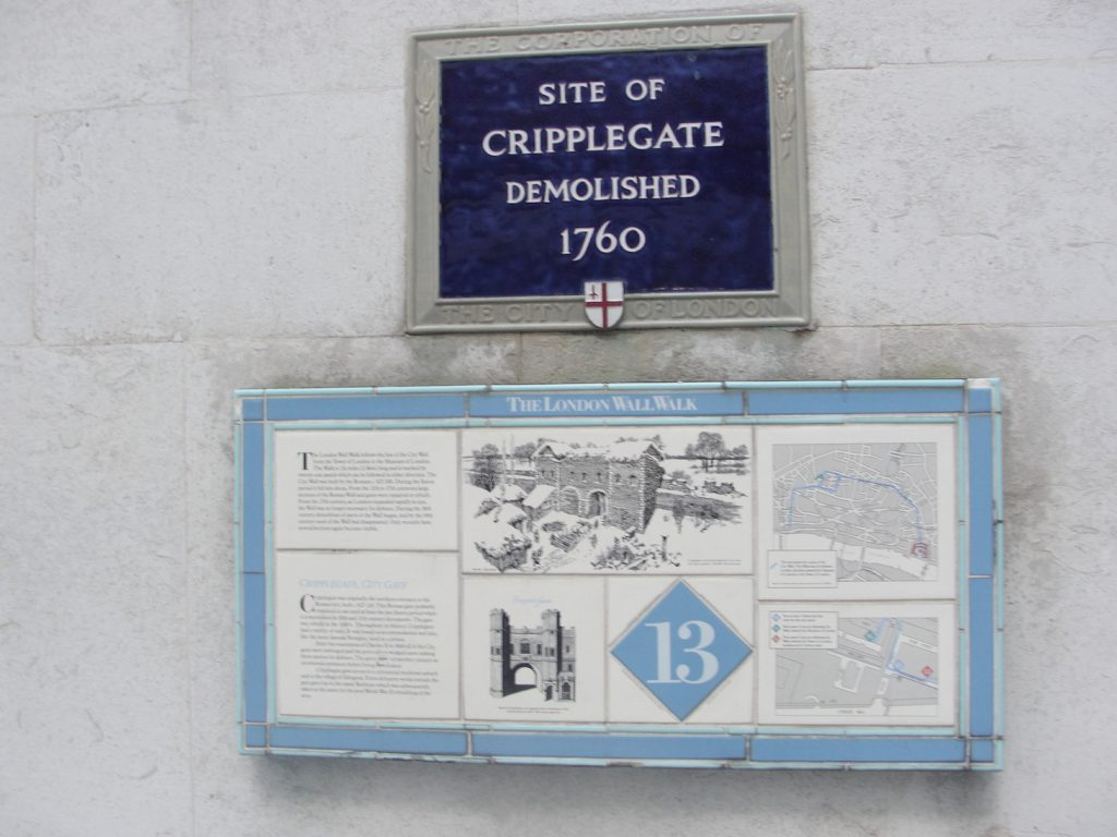Plaque at Cripplegate, where there would have been a gate in the Roman Walls of London. This photo shows one of the ceramic plaques put up in about 1984. Disappointingly, the spirit behind these seems to have withered, as some of these plaques are no longer present.