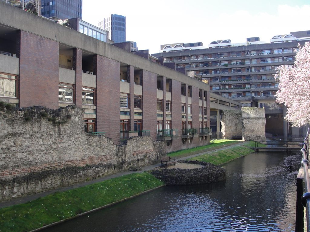 The Roman (repaired/replaced) wall of London near the church of St Giles Cripplegate. This is near the Barbican.