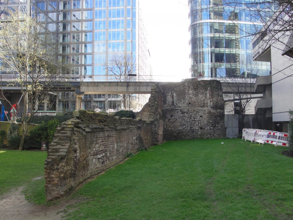 The Roman wall of London (repaired/replaced) just north of (and facing towards) the down ramp to the London Wall underground car park