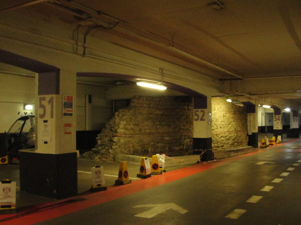 The section of the Roman wall of London at Bay 52 in the London Wall underground car park