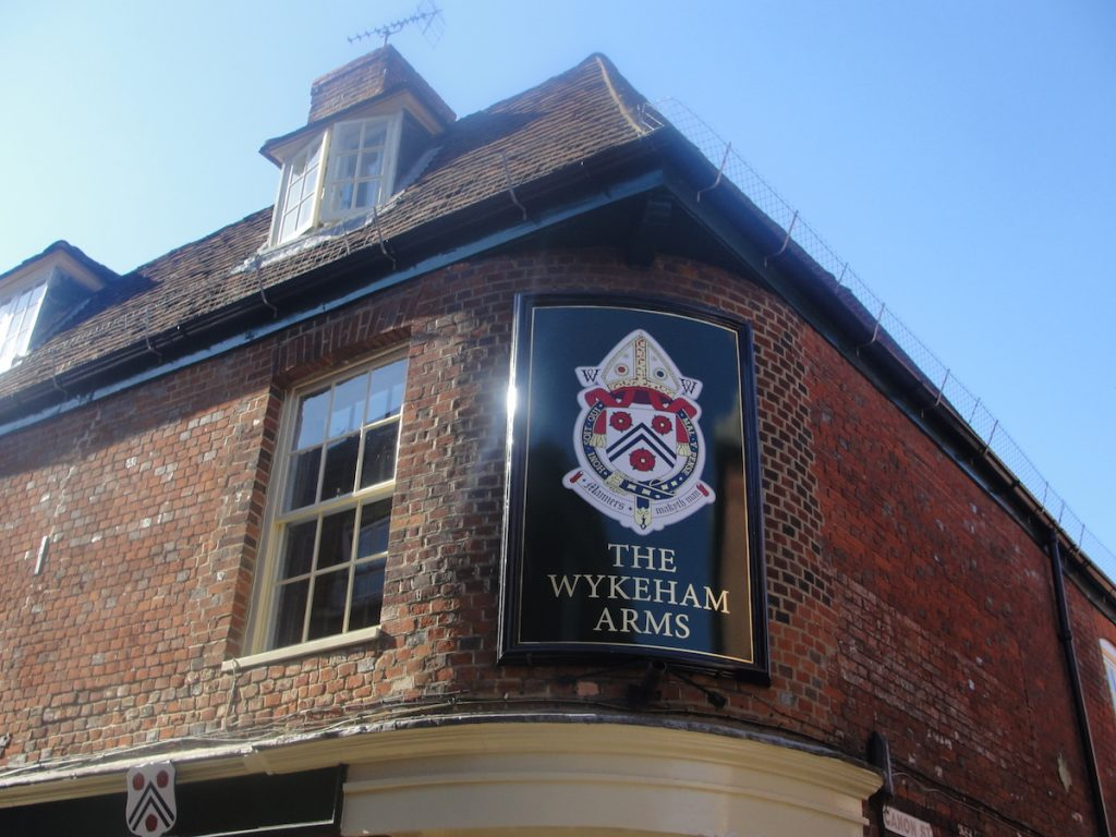 The Wykeham Arms pub in Winchester, just outside the course of the Roman walls of Winchester