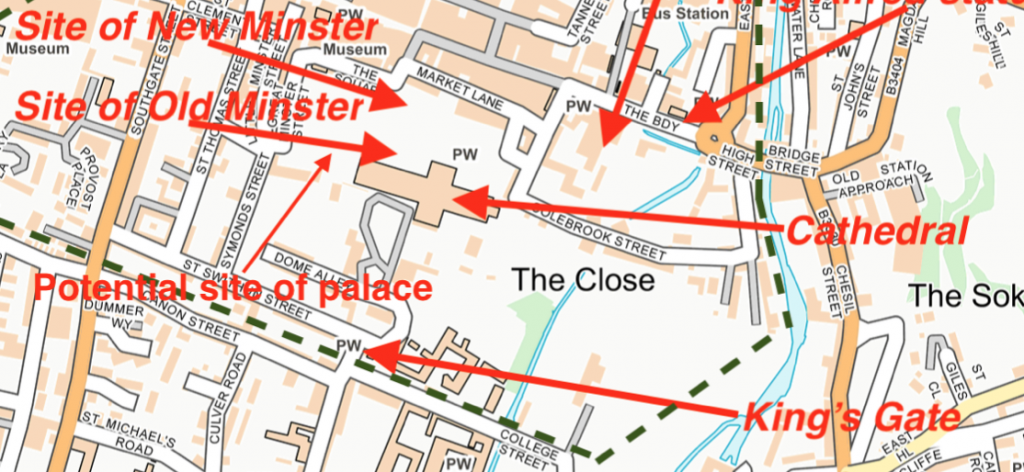 A section of a map of Winchester, Hampshire, from my book, King Alfred: A Man on the Move.
