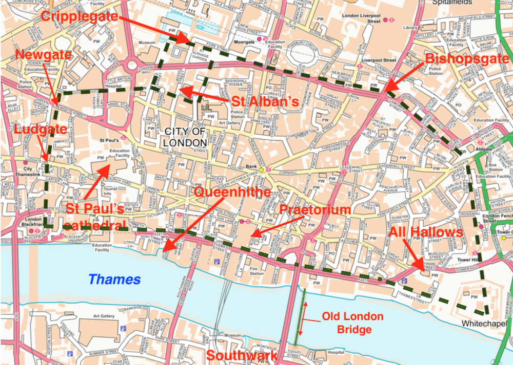 A map from my book. King Alfred: A Man on the Move. A dashed line shows the course of the old town wall of London