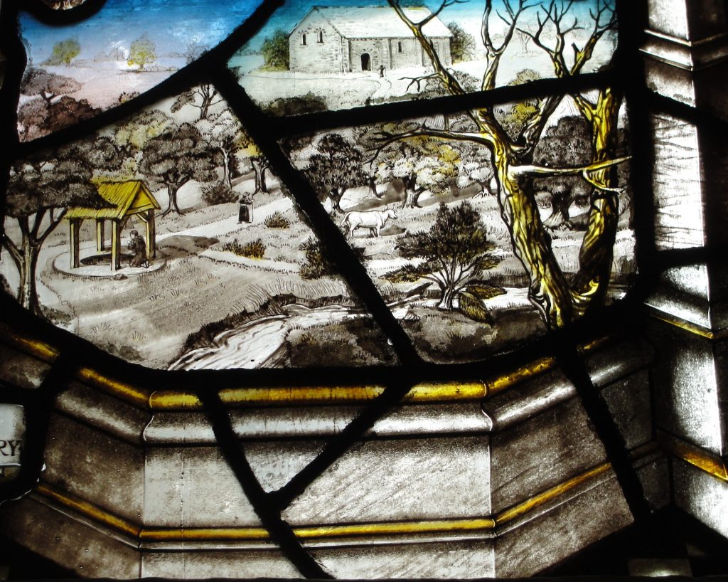 From the same stained glass window. This shows the now lost church at Tuesley, Surrey, and the well to the left has become Ladywell Convent
