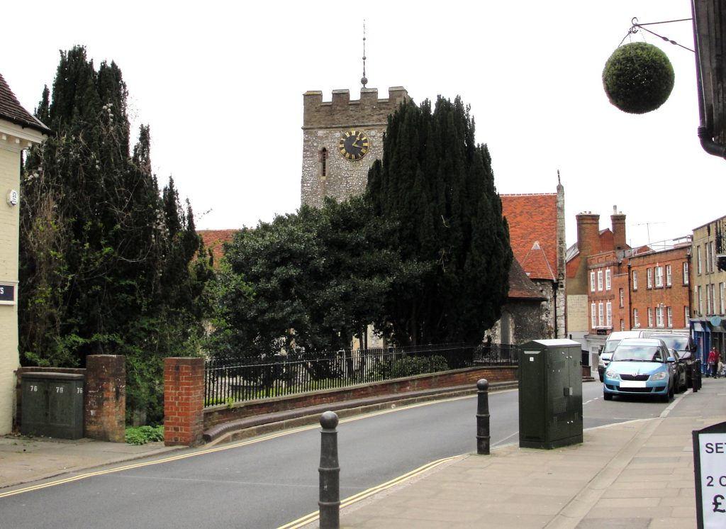St Mary's Church and Quarry Street, Guildford, Surrey