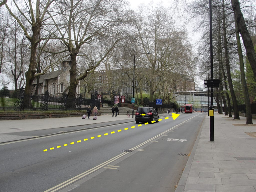 St Pancras Road, London, looking south. On the left is Old St Pancras Church and straight ahead is St Pancras International train station. A yellow line gives a broad indication of the former course of the River Fleet.