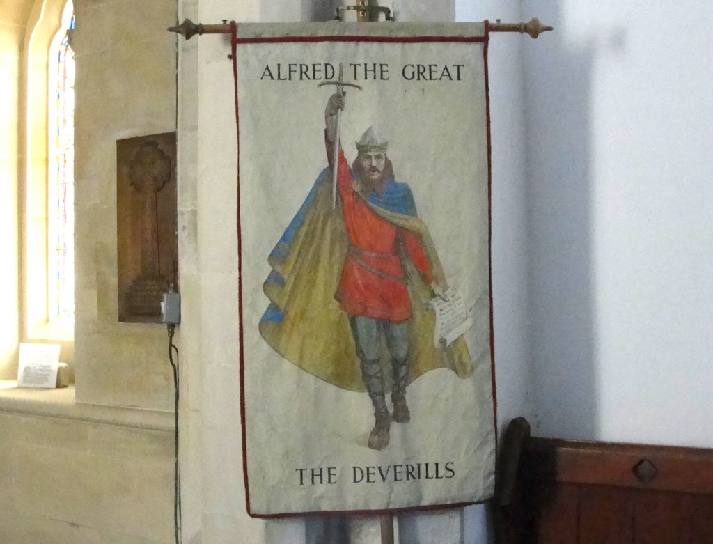 King Alfred banner in St Mary's church, Kingston Deverill, Wiltshire