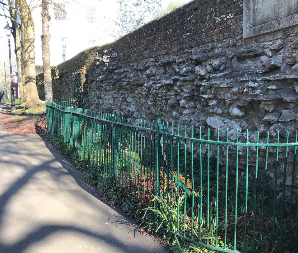 Roman wall. Dorchester. Dorset. Albert Road. Top o' Town.