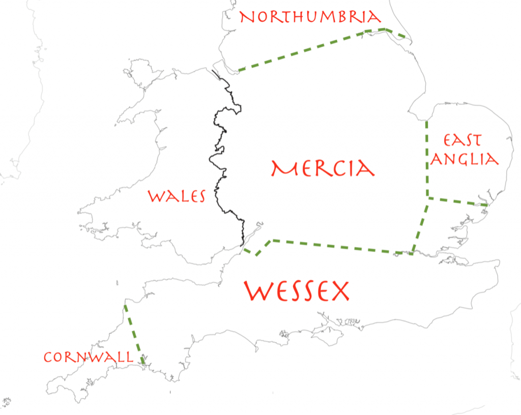 A  map of Wessex. A schematic diagram of territorial divisions at the start of King Alfred's reign.