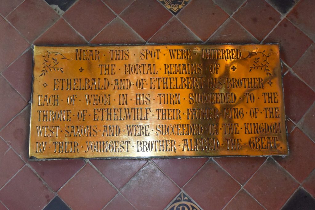 Plaque inside Sherborne Abbey, Dorset, informing us that King Ethelberht and King Ethelbald were interred nearby