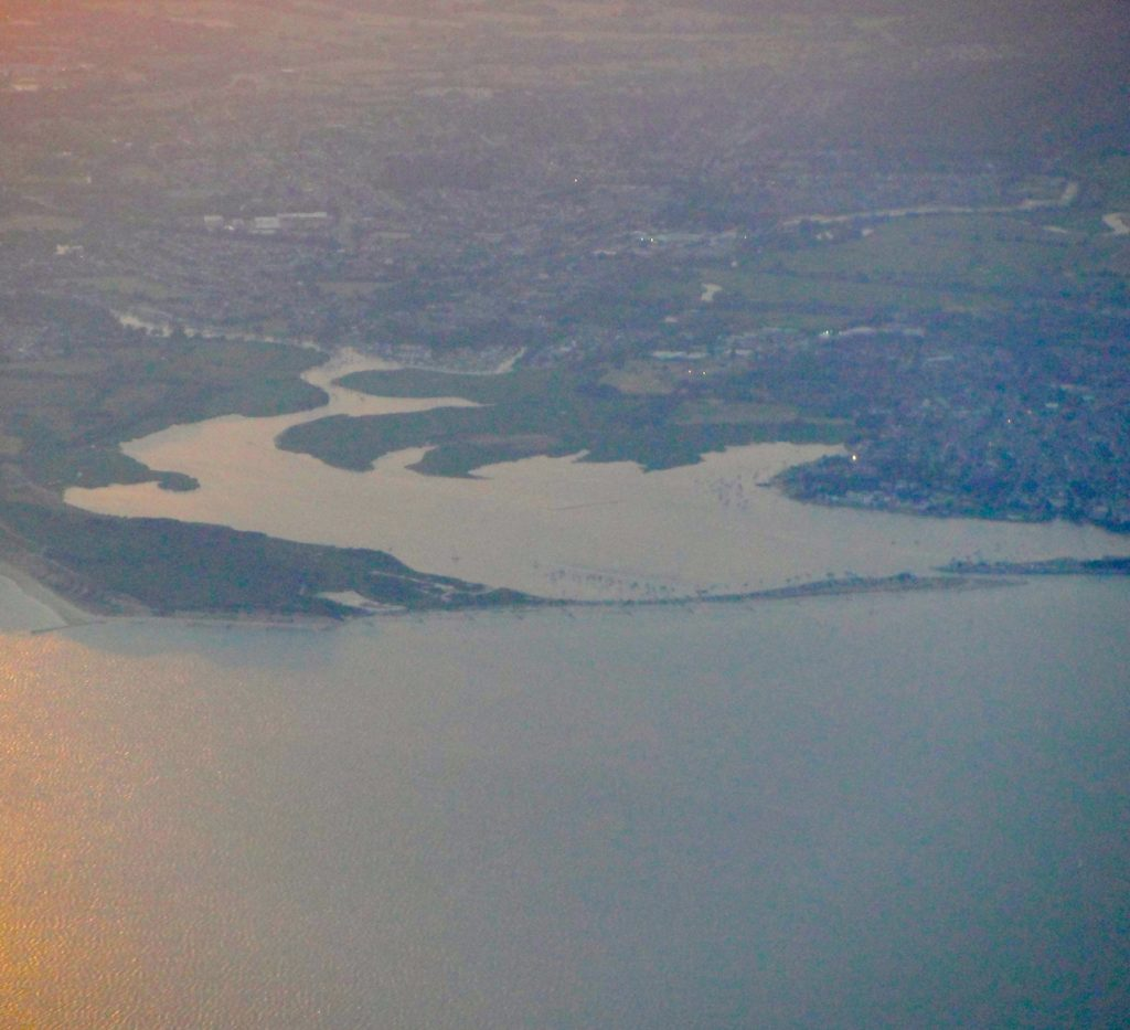 View of Christchurch Harbour, taken from an aeroplane at dusk.