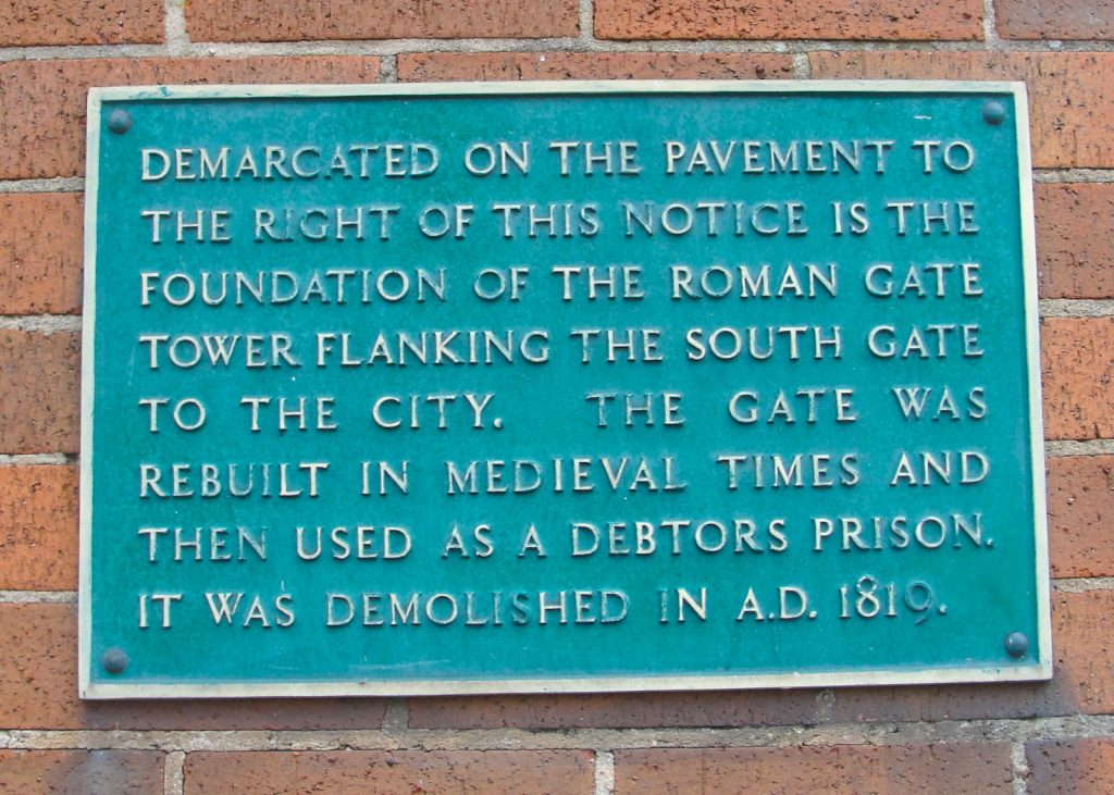 A plaque marking the location of the South Gate in the walls of Exeter