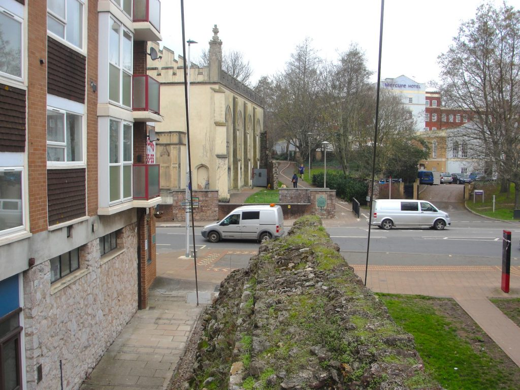 The former location of the South Gate in the walls of Exeter, Devon.