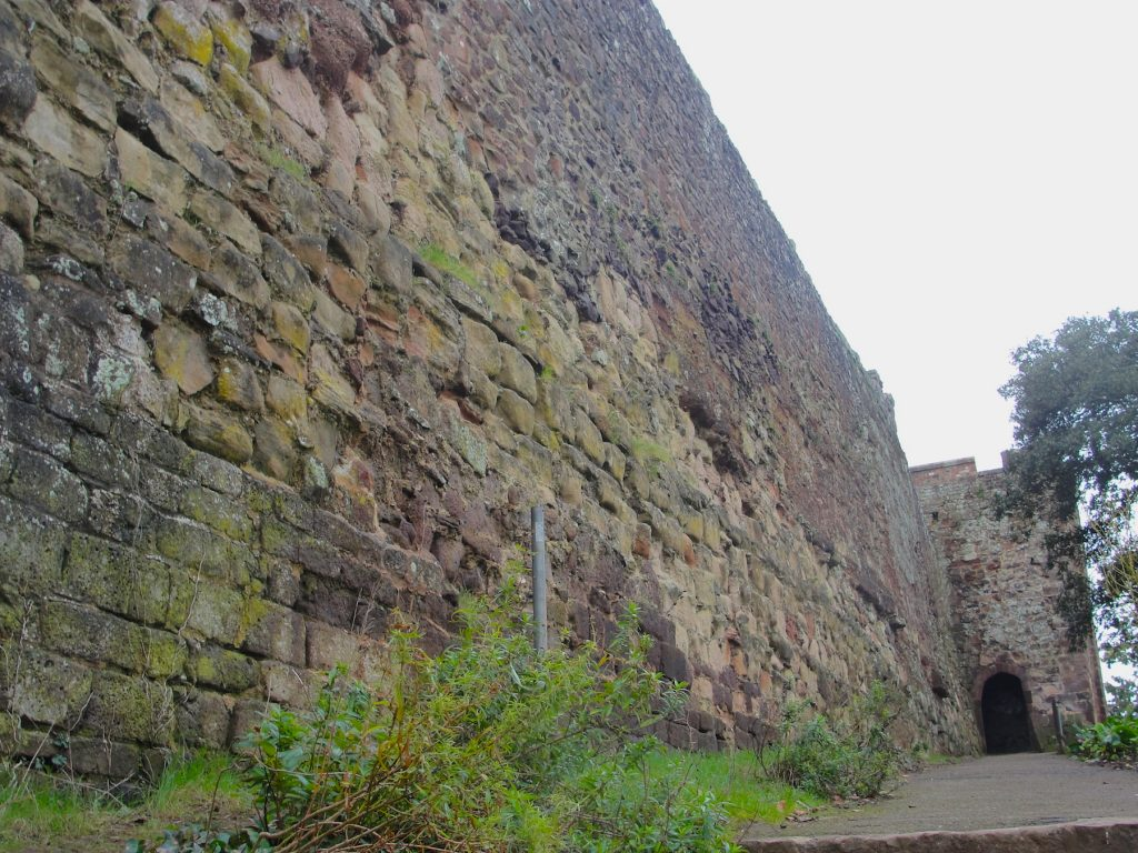 A section of the walls at Exeter where Saxon masonry has been found. This is the path leading up to Athelstan's Tower in Northernhay Gardens.
