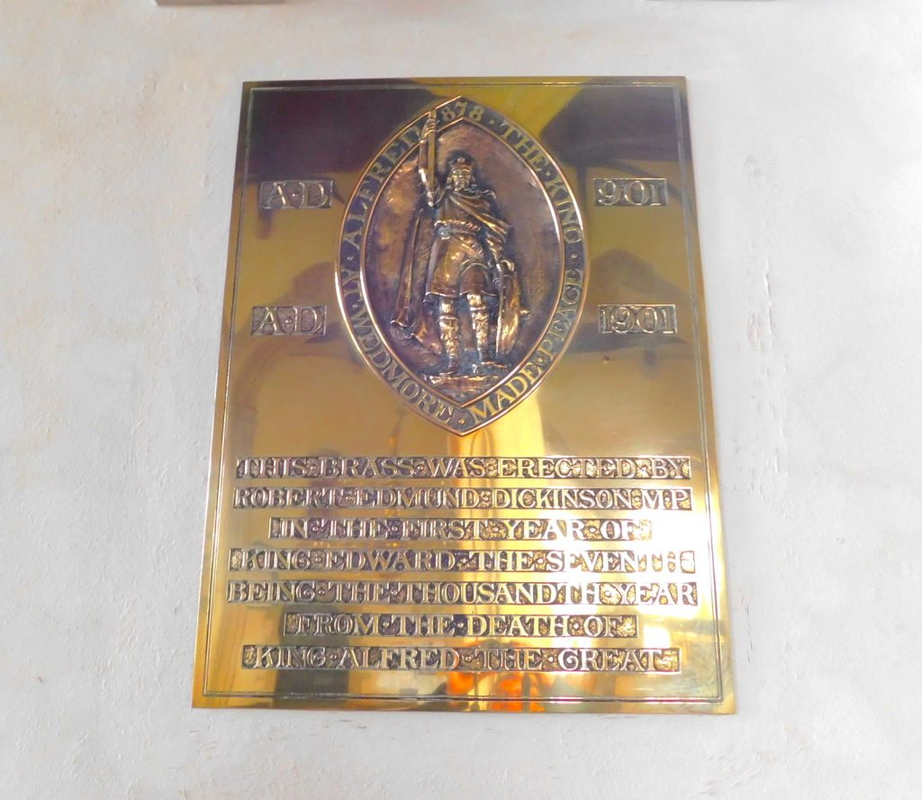 A plaque inside St Mary's church, Wedmore, Somerset Levels recognising Alfred's making of peace with the Vikings