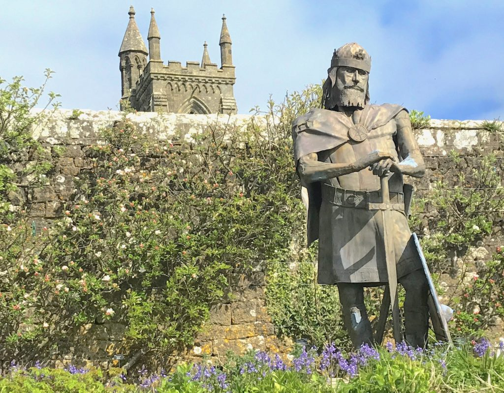 King Alfred in the grounds of Sherborne Abbey, Dorset