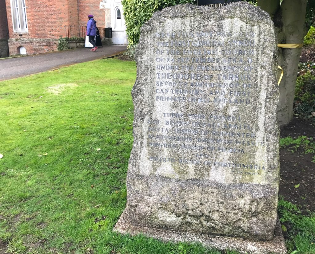 Stone in the grounds of Hertford Castle commemorating the synod that may have taken place there