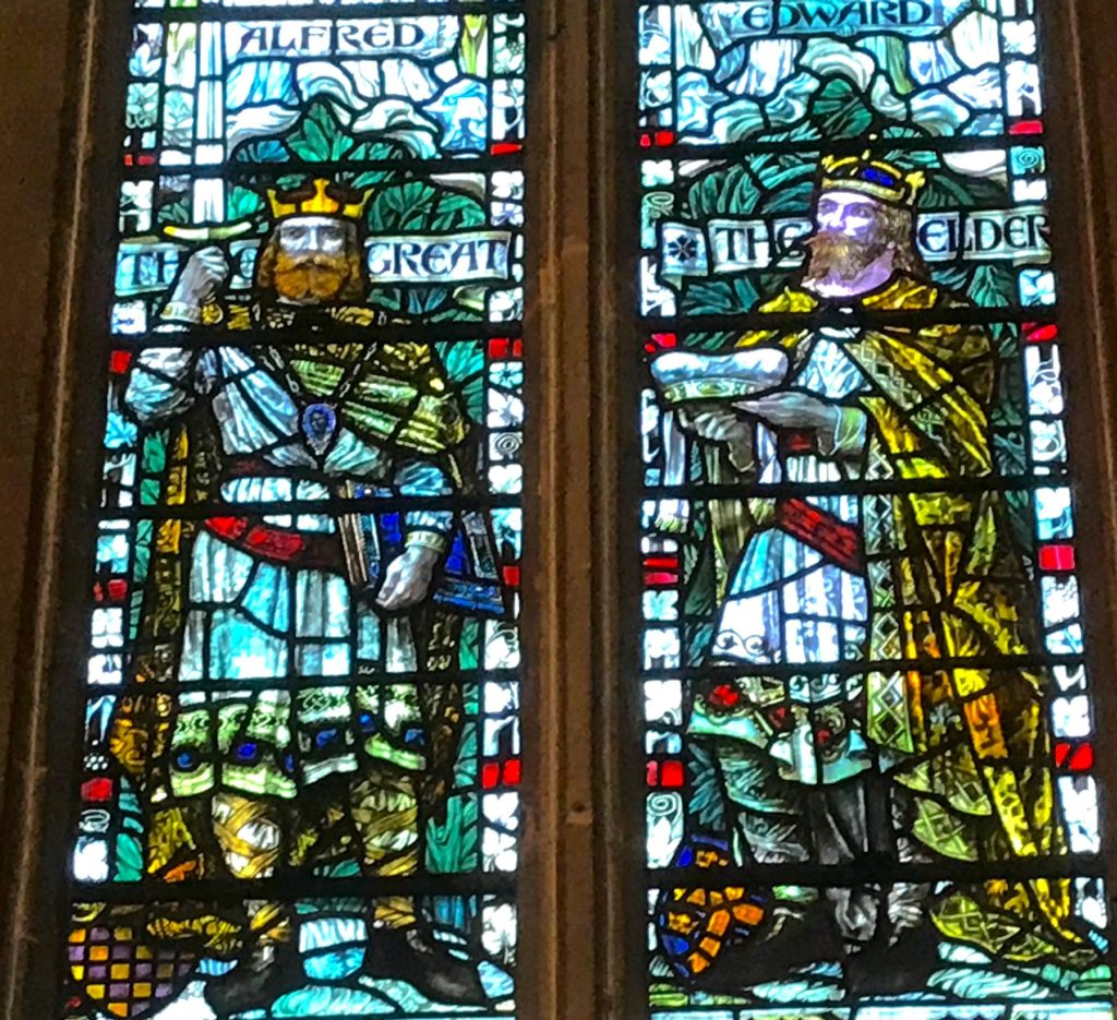 Wells Cathedral, Somerset. Stained glass window showing King Alfred the Great and his son King Edward the Elder