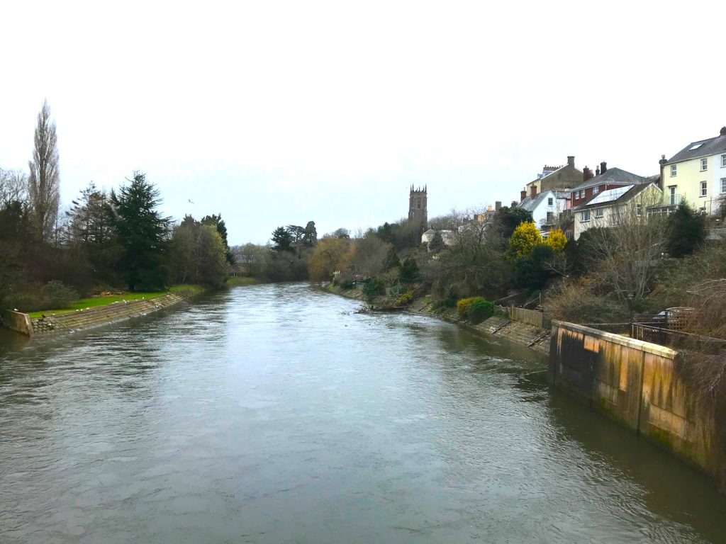 View north from the bridge at Tiverton, Devon