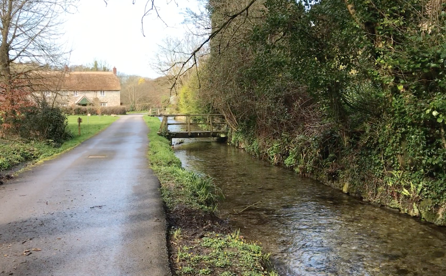 The river Bride flowing through Little Bredy, Dorset